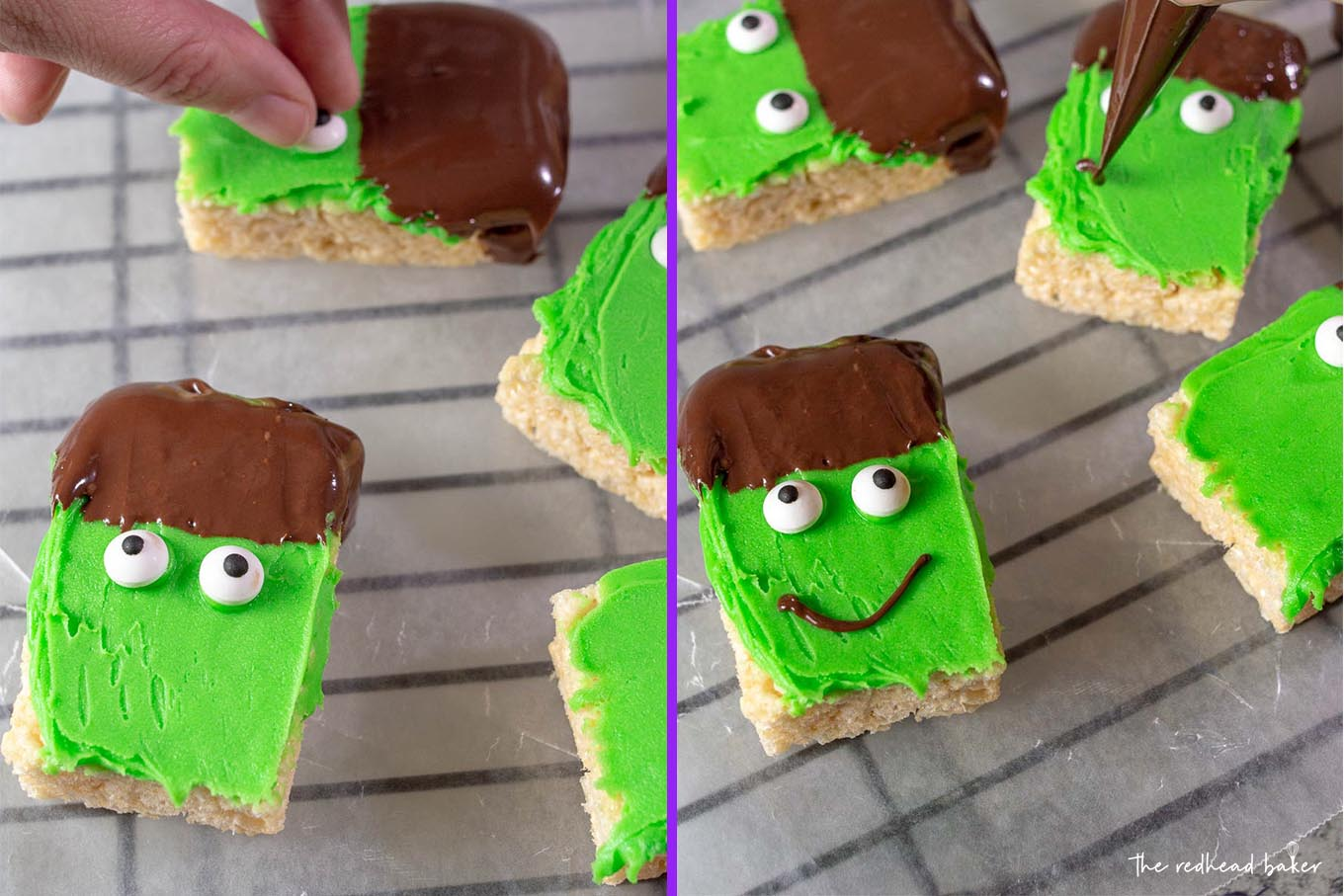 A collage with candy eyes being applied to the Frankenstein crispy cereal treats on the left, and mouths being drawn on the cereal treats in chocolate on the right