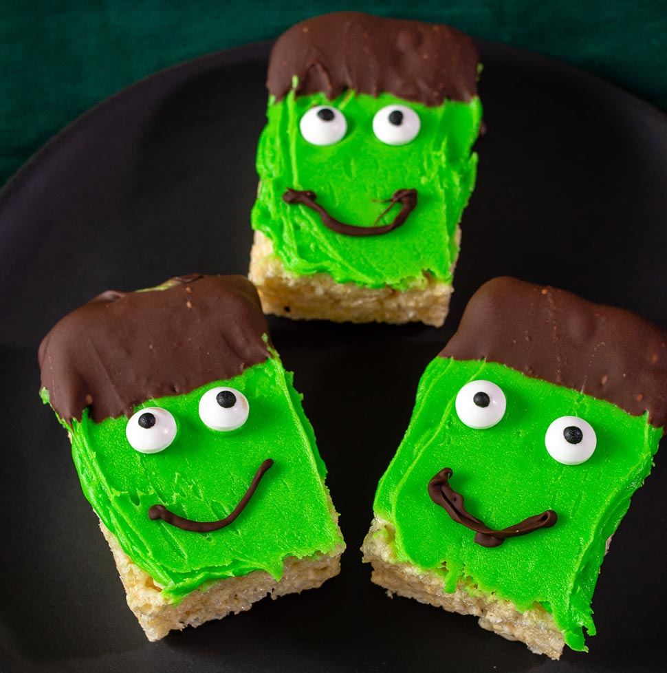 Frankenstein Crispy Rice Cereal Treats #HalloweenTreatsWeek