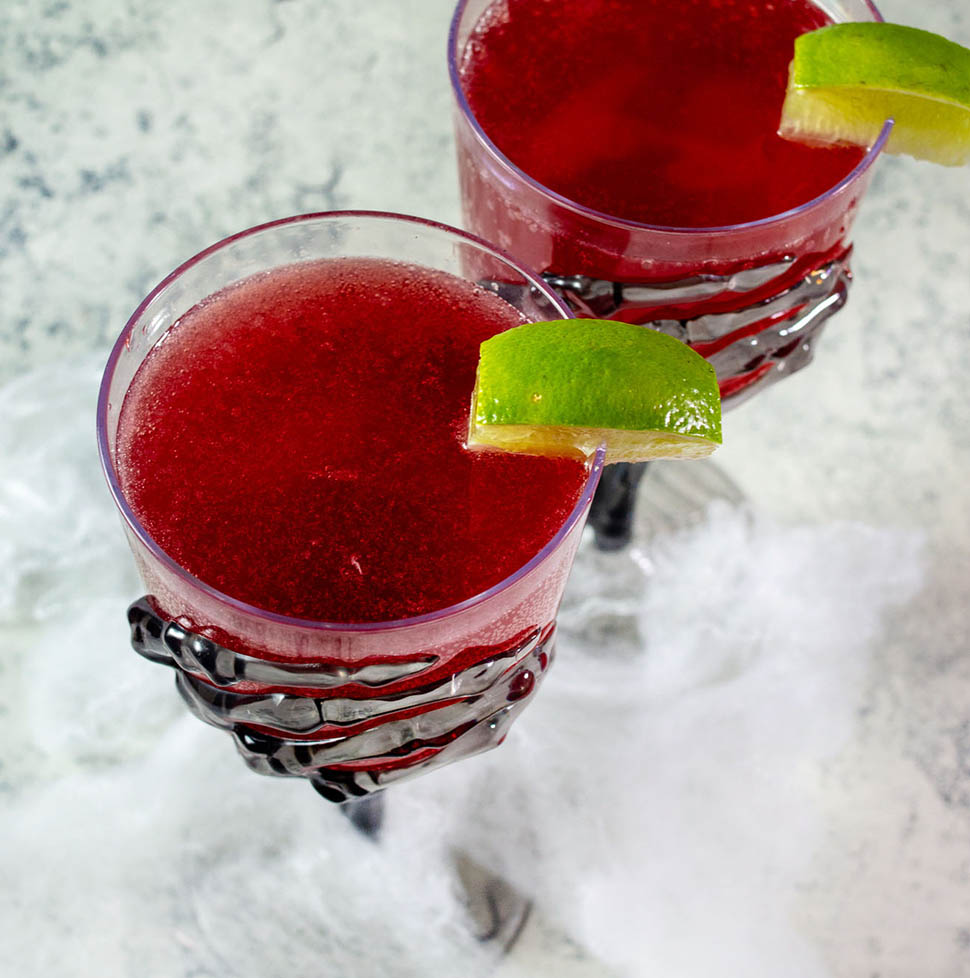 Two glasses of pomegranate margaritas