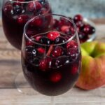 Two glasses of cranberry apple sangria