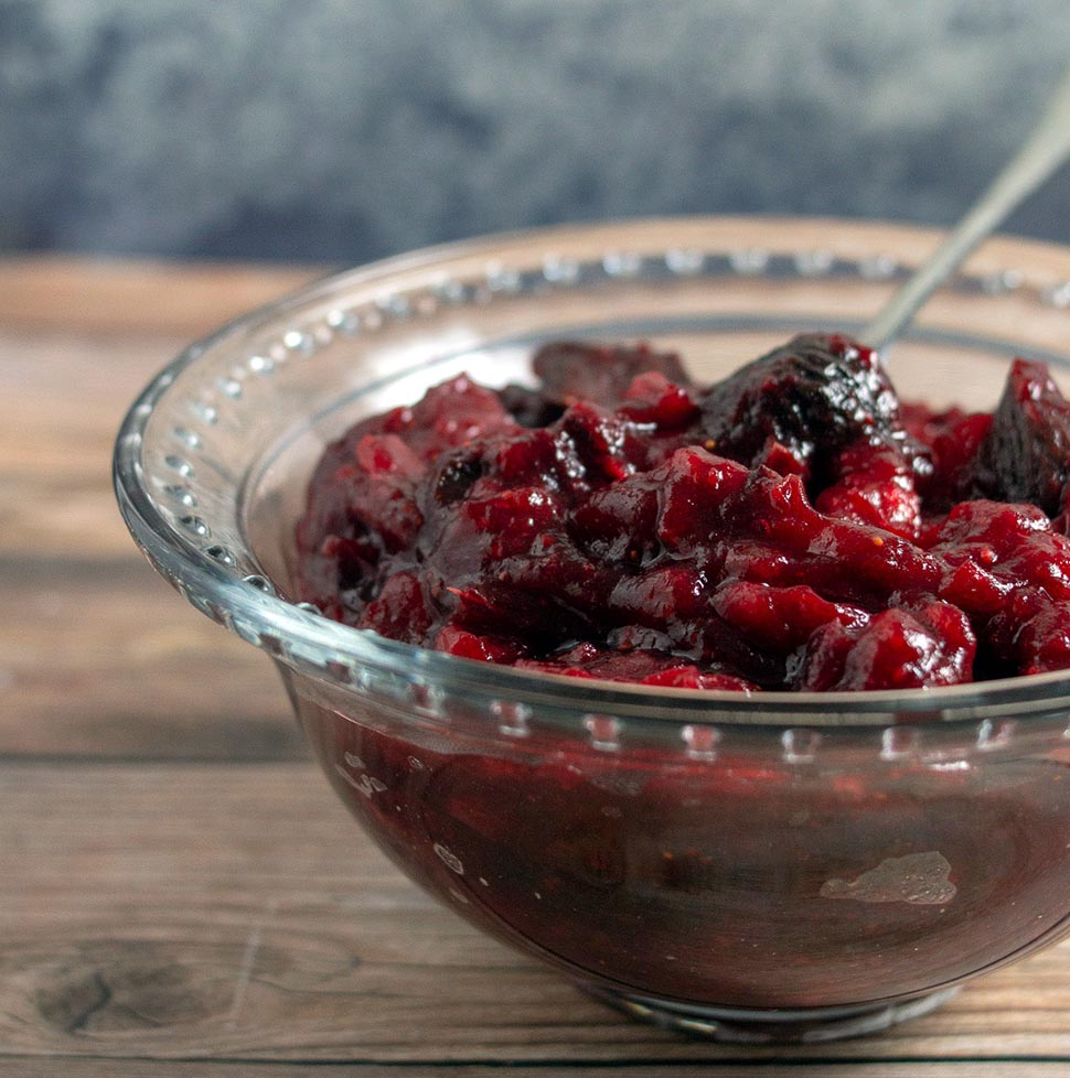 A dish of cranberry fig sauce