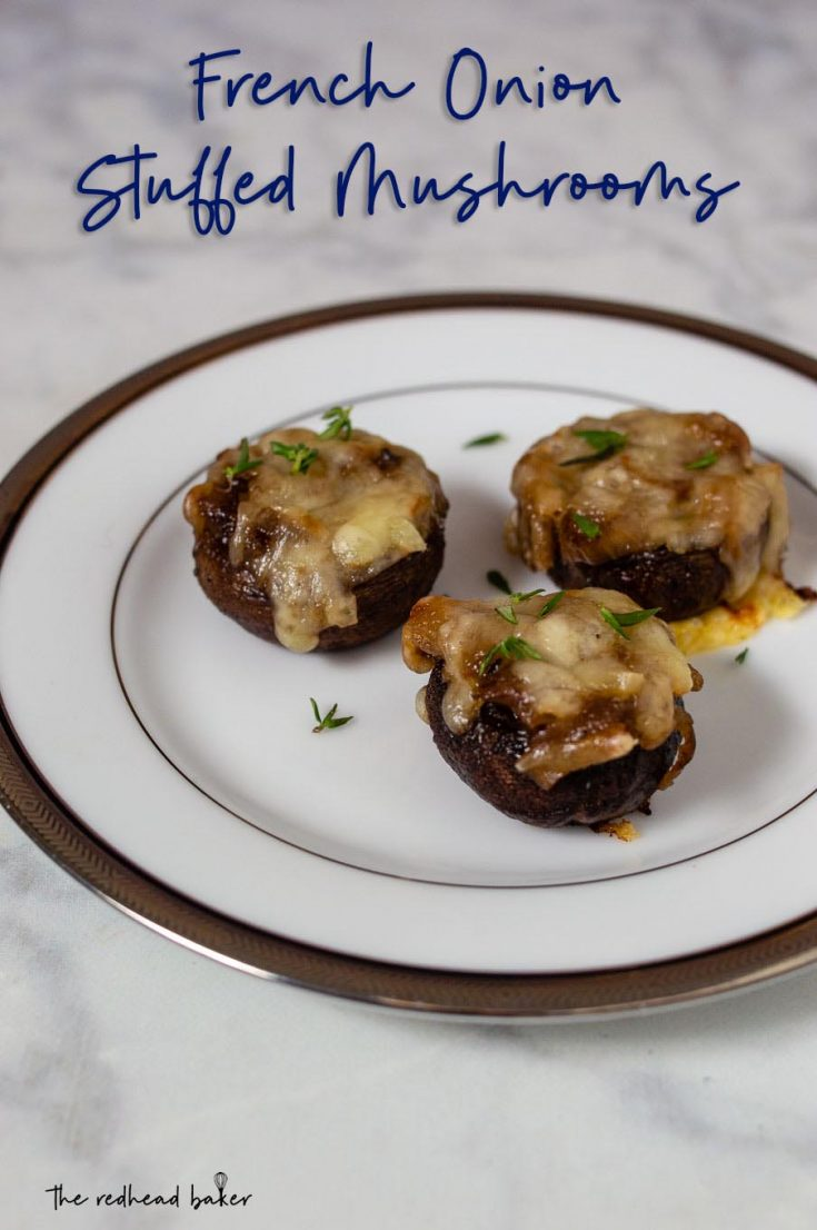 French onion stuffed mushrooms are a delicious appetizer with all the flavors of the classic soup in one bite.