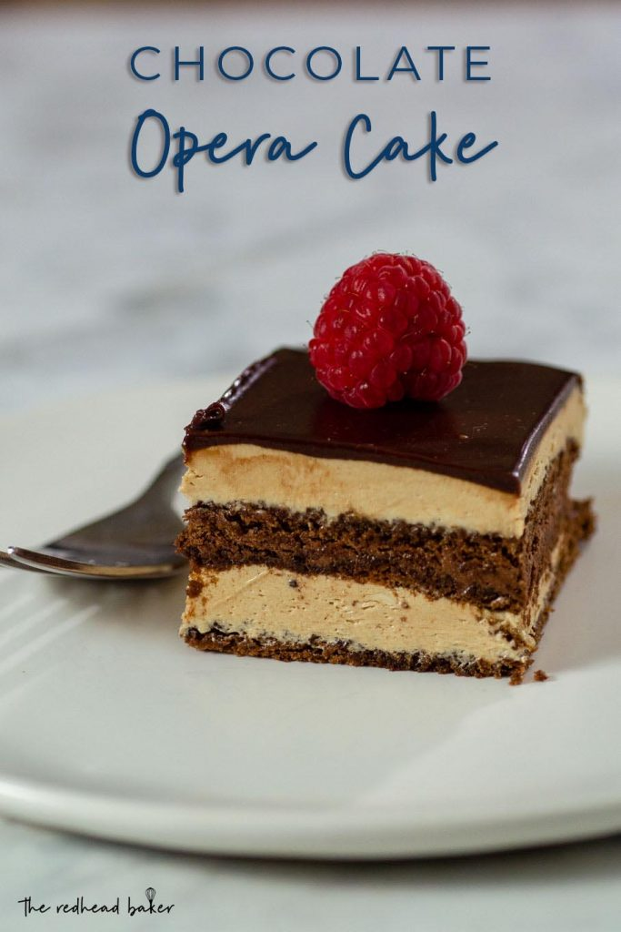 A slice of chocolate opera cake garnished with a fresh raspberry