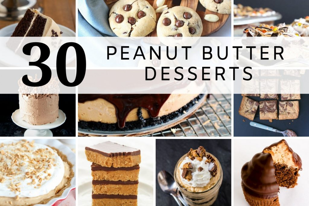 Collage of peanut butter desserts