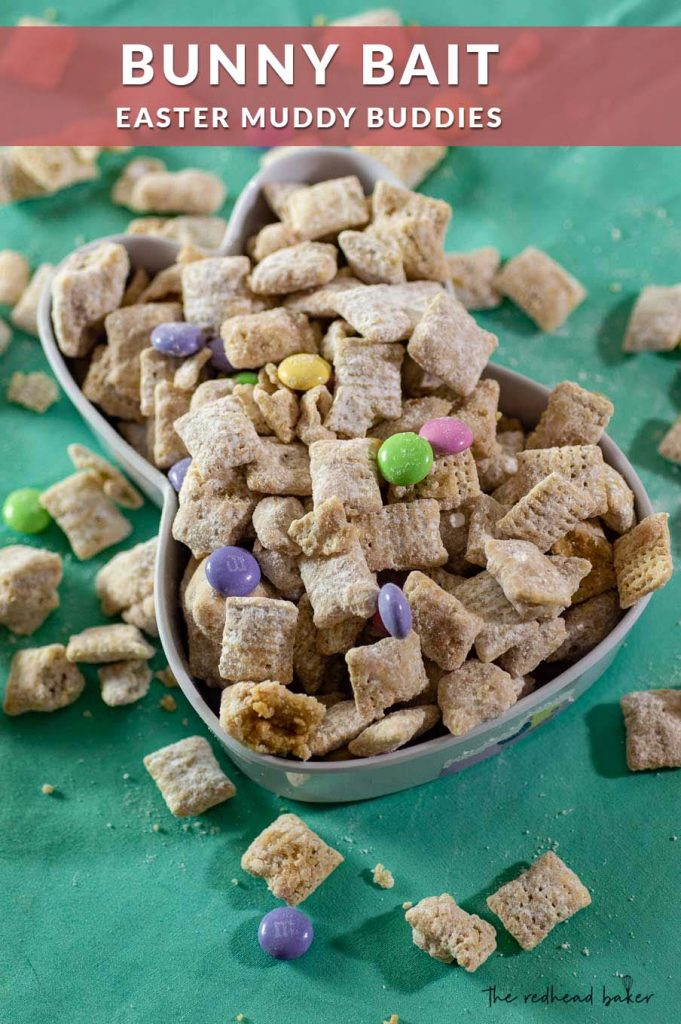 Easter Muddy Buddies (aka Bunny Bait) in a bunny-shaped serving dish