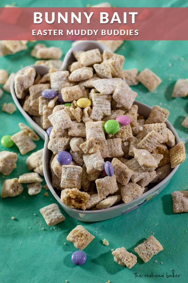 Lure the Easter Bunny to your house with this delicious Bunny Bait! These white chocolate Muddy Buddies are mixed with pastel Easter candies.