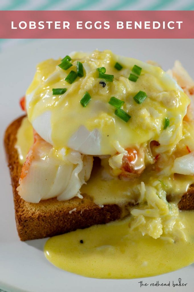 A close-up of a dish of lobster eggs benedict on a white plate