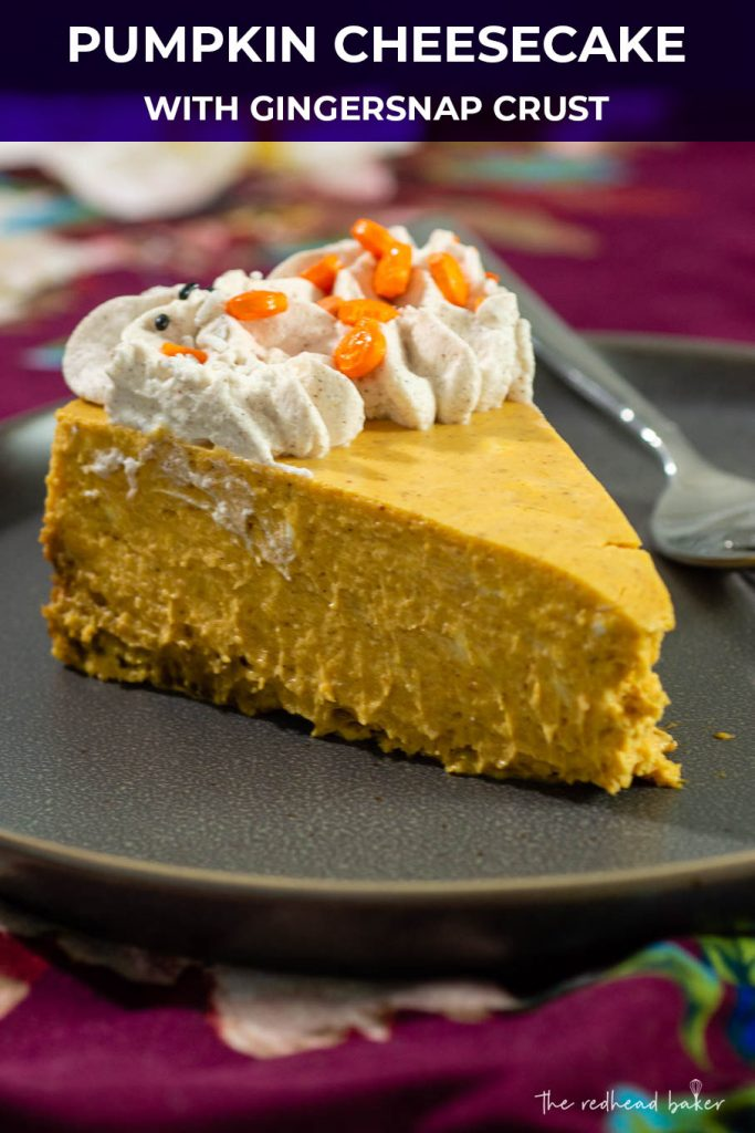 A slice of pumpkin cheesecake on a plate, on a floral napkin