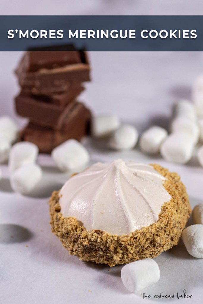 Light and airy s'mores meringue cookies are coated in milk chocolate and graham cracker crumbs. This dessert is naturally low in calories!