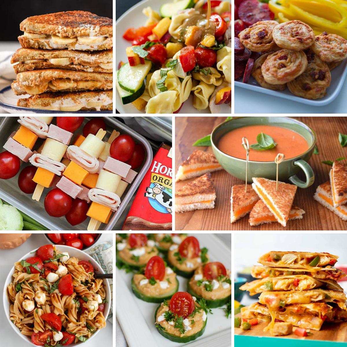 A collage of photos of kid-friendly lunch ideas