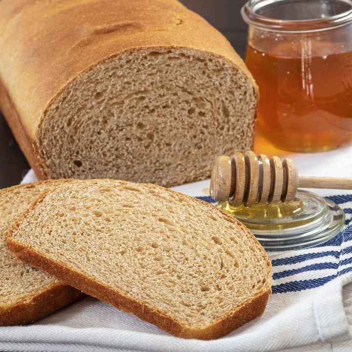 Easy white whole wheat sandwich bread is soft, and has a lighter flavor than traditional whole wheat.