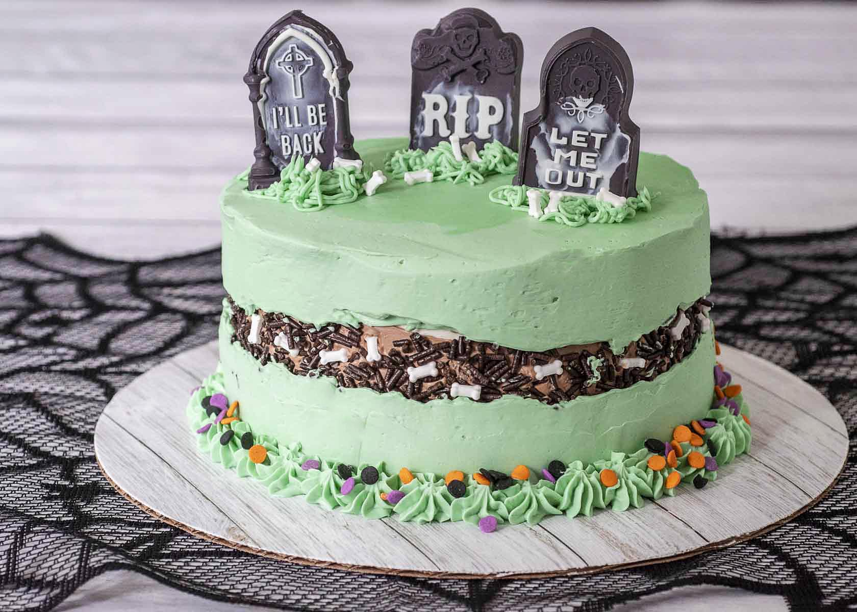 A shot of a fully decorated graveyard fault line cake.