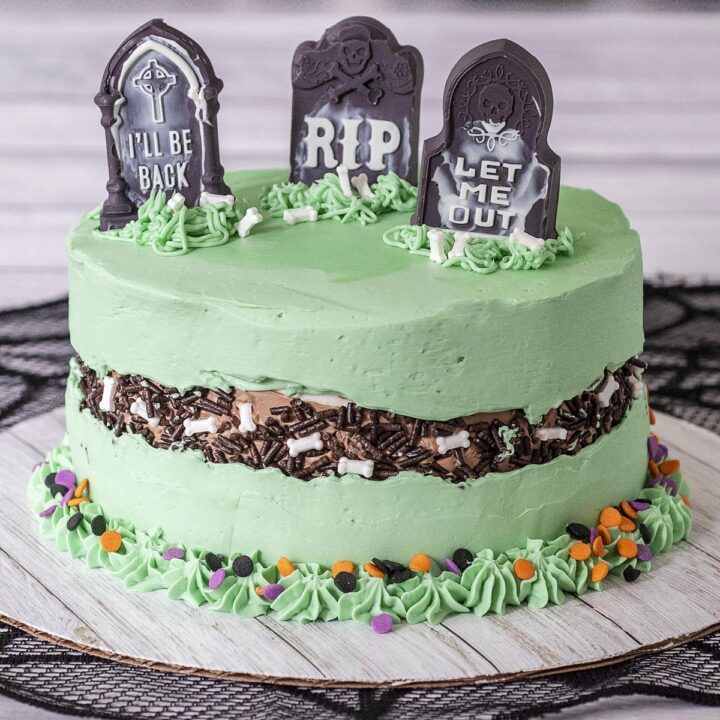 A fully decorated graveyard fault line cake.