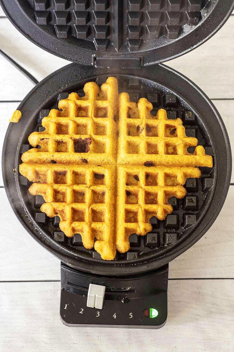A cooked pumpkin chocolate chip waffle still in the waffle iron.